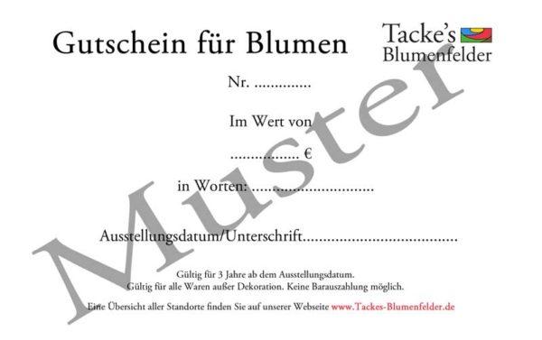 Tacke's Blumenfelder - Geschenkgutschein / Gutschein
